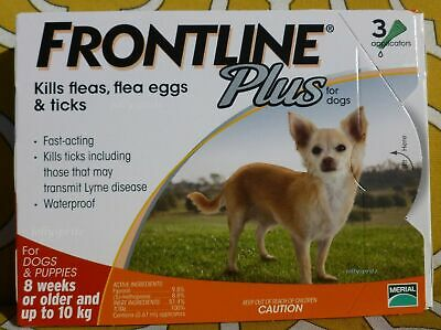 Frontline Plus 3 Pack Months Supply For Dogs 0-22lbs 0-10KG ORANGE
