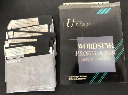 Vtg Computer Software WordStar Professional Release 5 + book floppy disks
