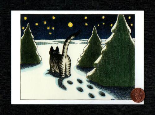 KLIBAN Kitten Cat Grey Tabby Snow Footprinnts Stars  Christmas Greeting Card NEW