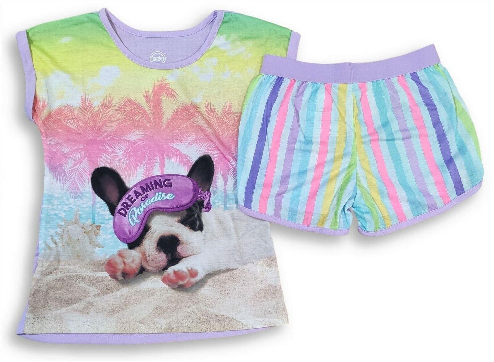 Puppy Dog Short Sleeve Shirt Shorts PJ Pajama Set for Girls