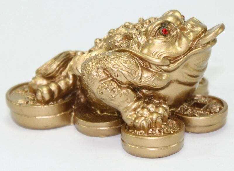 Feng Shui Mini Matte Gold Money Frog Coin Toad Paperweights Home Decor Gift