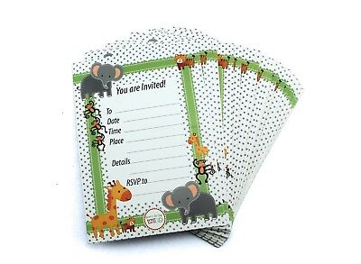 Jungle Safari Zoo Animals Theme Baby Shower Invitations birthday party Bulk Lot - Baby Jungle Theme