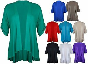 Ladies-Short-Sleeve-Plus-Size-Open-Waterfall-Cardigan-Womens-Stretch-Top-12-26