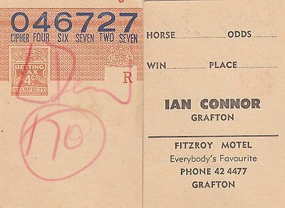 Betting tax NSW 4c brown stamp duty pre-printed Ian Connor Grafton horse race