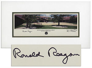Ronald Reagan Presidential Library 20'' x 10.75'' Signed