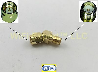 45 Degree Adapter Connector for FPV Race Goggle Antenna (SMA Male to SMA Female)