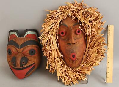 2 Vintage Mid-20thC Northwest Coast Native Carved Bear & Pitch Woman Cedar Masks