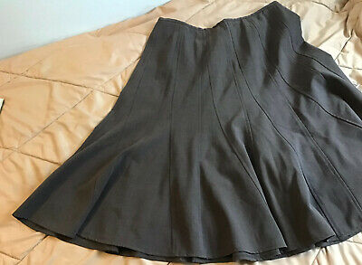 Larry Levin Stretch A-line Midi Skirt Size 12 Charcoal Grey