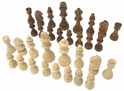Carved Wooden Chess Pieces (32 Piece Wooden Carved Chess Pieces Hand Crafted Set Large 9cm)