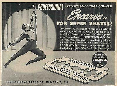 Vintage 1945 PROFESSIONAL BLADES Half-Page Magazine Print Ad - Shaving Razor
