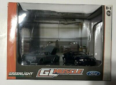 Greenlight Dioramas Series 5 GL Muscle 2010 Blue Ford Mustang GT Raw 1966 Fastb