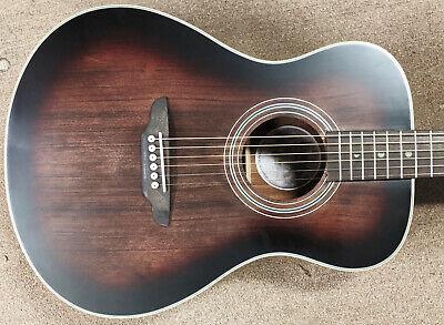 Luna Art Vintage Folk Acoustic Guitar Spruce Top Mahogany, Distressed Brownburst