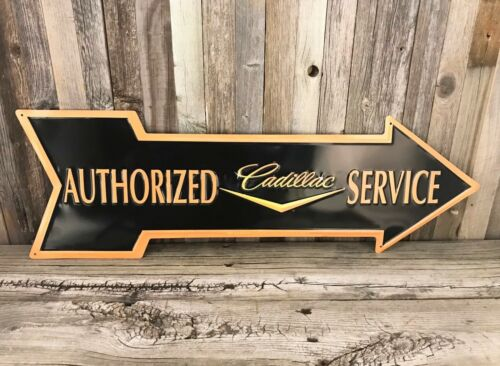 Cadillac Service 27 Arrow Metal Tin Sign Large Vintage Style Garage Man Cave New