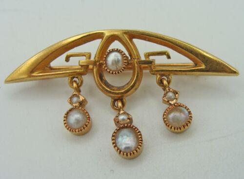 18kt Gold Antique Art Nouveau Brooch with Drop Down Dangle Pearls