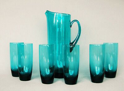 Design Glas Krug + 6 Gläser türkis Saft Wasser Set Denmark? Finland? 60er 70er
