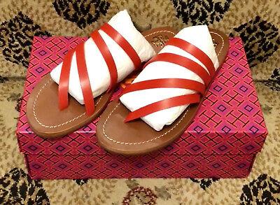 NEW Tory Burch Flat Leather Sandals Thong Slides Samba Red NIB 7.5 M Shoes