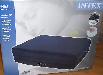 Intex Memory Foam Raised Inflatable Air Bed Mattress - Queen Mid-Rise Supreme