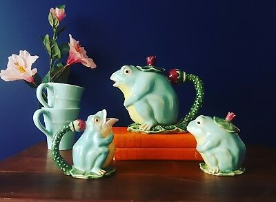 Classic majolica pottery frog tea set; teapot creamer sugar bowl floral green