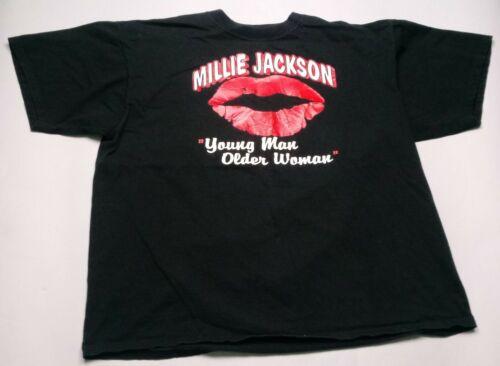 Vintage 1991 Millie Jackson Young Man Older Woman Lips T-Shirt Black XL 90s
