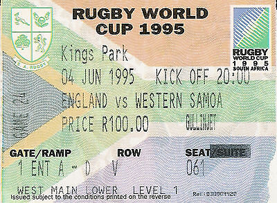ENGLAND V SAMOA RUGBY WORLD CUP 1995 TICKET