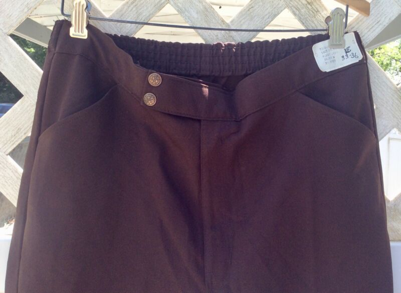 3 Pairs Of Brown Vintage Polyester Pants -New By Uniforms 33/36 And Sm W Tags