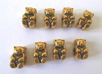 Teddybär Großlochperlen Perle Tier Bär Metall antik Gold 14x8mm 8 Stück