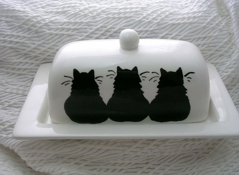 Three Black Cats On Butter Dish 2 Piece Handmade Ceramic Clay by Grace Smith