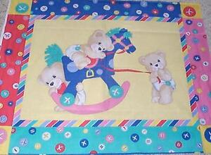 Teddy Bear Rocking Horse Baby Quilt top Panel Fabric 100% Cotton Buttons