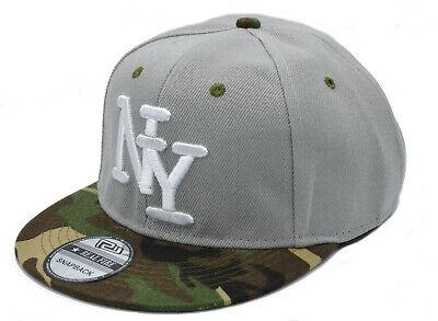 NY Baseball Cappy Herren Cap Mütze Basecap Snapback Grau Camogrün 54-62cm Kappe Snap Brim Hut