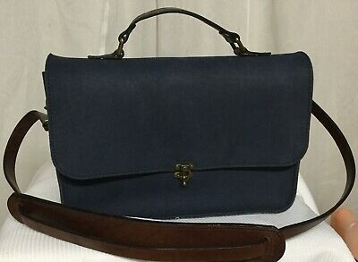 Leather Crossbody Purse Satchel Navy Leather L & K Tack Fold Over Flap NEW