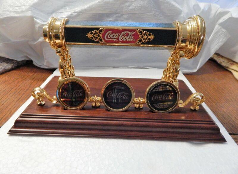 Vintage 1998 Coca Cola Kaleidoscope Franklin Mint Brass W/Wood Stand New No Box