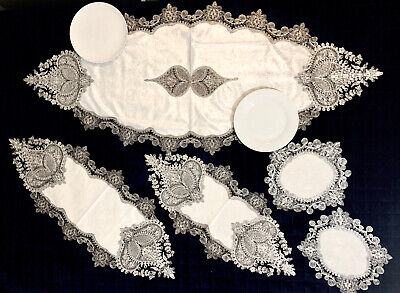Elegant Embroidered White Velvet Silver Table Runner Table Cloth | Set of 5 Pcs