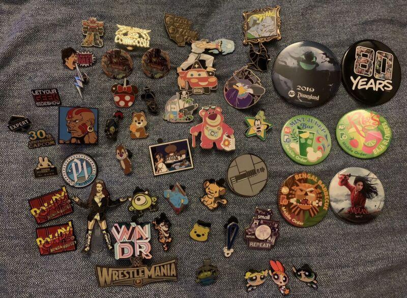 Disney Enamel Mouse Ear Pin Pixar Lot Sdcc 50 Capcom Buttons Wwe 2019