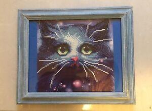 Sparkly blue cat diamond dot art Jimboomba Logan Area Preview