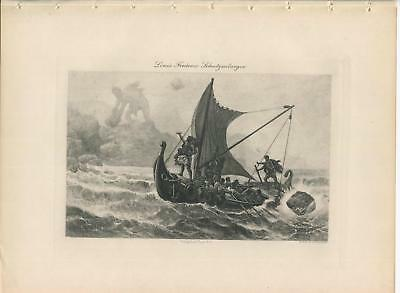 ANTIQUE GREEK LEGEND MYTHOLOGY CYCLOPS ULYSSES KING ITHACA NAUTICAL SHIP PRINT