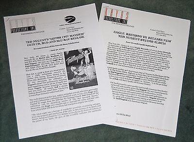 TED NUGENT Love Grenade & Motor City Mayhem Press Release Kit Promo Media Sheets