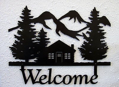 Cabin Welcome Sign Plaque Rustic Lodge Metal Art Mountain Hunting Cabin Decor (Mountain Hunting Cabin Lodge)