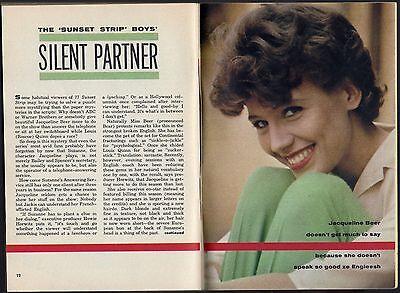 1961 TV ARTICLE~JACQUELINE BEER~SECRETARY ON 77 SUNSET STRIP SERIES