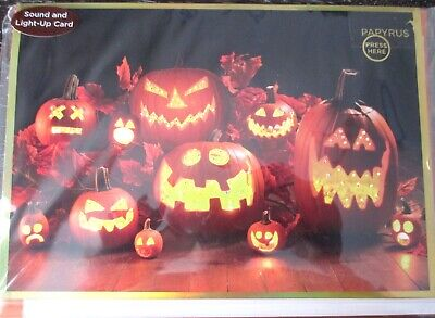 Papyrus Sound and Light-up Scary Pumpkins Halloween Card