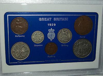 1929 GB Great Britain British Vintage Coin Set (87th Birthday Gift Birth Year)