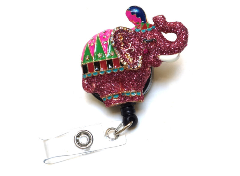 Retractable ID badge holder reel - Elephant with Pink Glitter