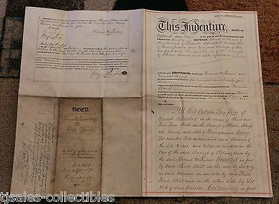 1870 Old Identure Deed Russell Blanche Pottsville PA Document Revenue Stamp