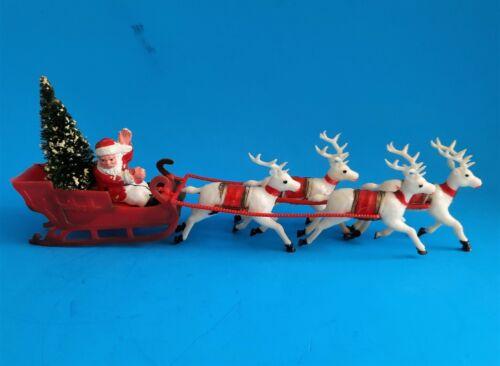 """Vintage Plastic Santa With Sleigh & 4 Reindeer Made in Hong Kong 12.5"""""""