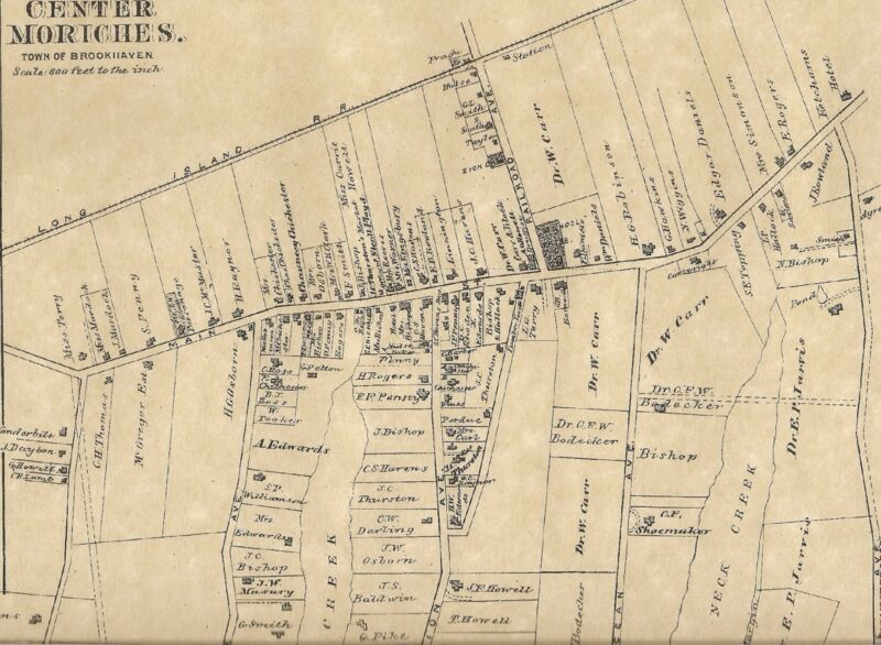 Center Moriches  East Moriches NY 1888 Maps with Homeowners Names Shown