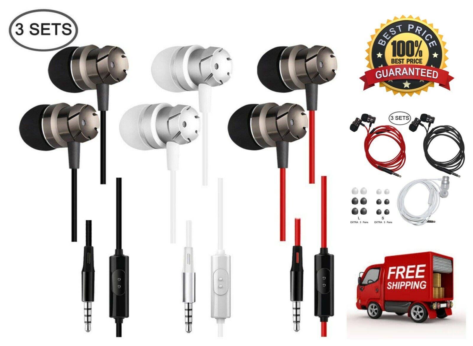 3 Pack Earphones Wired Earbuds Lightweight 3.5 mm in-Ear Hea