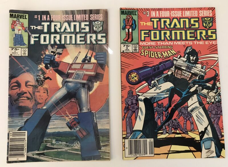 TRANSFORMERS #1 AND #3 Marvel 1984 1st app OptimusPrime Newsstand Edition