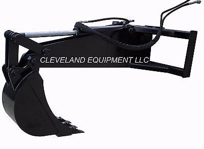 New Hd Backhoe Attachment W 12 Bucket Skid Steer Track Loader Kubota Terex Asv