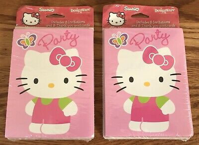 Birthday Party Hello Kitty Invitations TWO Packs of 8 w/ Thank You Postcards