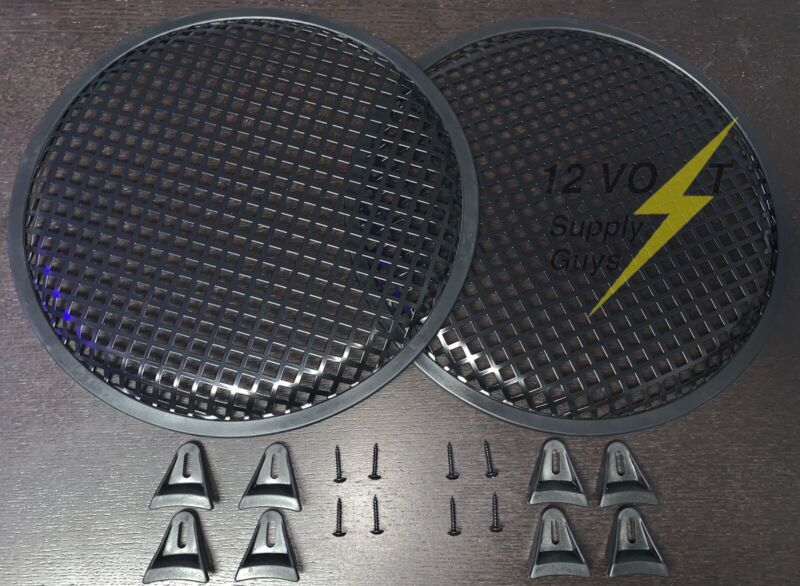 "(2) 12"" Metal Subwoofer Waffle Grilles With Brackets and Screws"