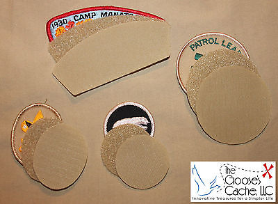 Tan Sew-on VELCRO® Brand fasteners for Attaching Patches to Scouts BSA -